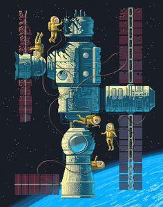 Pixel Art illustrations by Octavi Navarro. Cool Pixel Art, 8 Bit Art, Arte Robot, Pixel Image, Game Design, 2d Design, Game Art, Painting & Drawing, Illustration Art