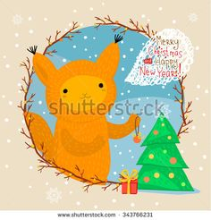 Holiday illustration with a cute squirrel. Christmas card with nice cartoon character. Winter greeting card. - stock vector #squirrel #cute #illustration #christmas #card #handdrawn #cartoon #character #aniwhart