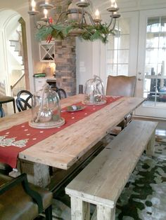 Trestle Dining Table and Bench by toddmanring on Etsy, $3000.00