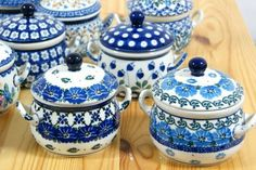 Polish pottery sugar bowls, they are all so cute :)