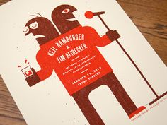 Poster for Neil Hamburger and Tim Heidecker - 18x24 2 color screen print  close up attached