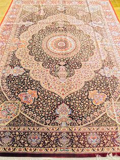 Qum Silk Persian Rug | Exclusive collection of rugs and tableau rugs - Treasure Gallery Retail Price: $75,000.00 You Save: CALL FOR DETAILS Item#: Q1009 Category: Medium(6x9-8x11) Persian Rugs Design: Size: 200 x 300 (cm) 6' 6 x 9' 10 (ft) Origin: Iran Foundation: Silk Material: Silk Weave: 100% Hand Woven Age: Brand New KPSI: 900 Textile Patterns, Textile Art, Textiles, Persian Carpet, Persian Rug, Iranian Rugs, Silk Material, Exclusive Collection, Retail Price