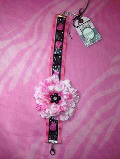 Pink flower dog necklace on Etsy, $18.00