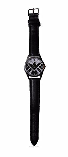 Marvel's Agents of Shield Round Black Genuine Leather Band Wrist Watch >>> Read more  at the image link.(It is Amazon affiliate link) #LoveForMarvel Shield Logo, Agents Of Shield