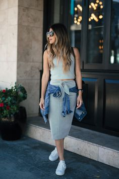 How to look chic in white sneakers | The Girl From Panama - Isabel Marant Sneakers, Club Monaco Halter top, Club Monaco knit skirt, Celine belt bag