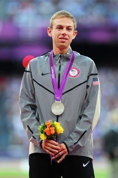 Silver medalist Galen Rupp of the United States poses on the podium for Men's 10,000m on Day 9 of the London 2012 Olympic Games at the Olympic Stadium on August 5, 2012 in London, England.