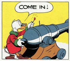 "Come in! (have a blast) | ""A Christmas For Shacktown"" (1952) by Carl Barks"