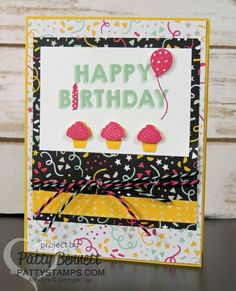 Stampin' UP! birthday card featuring Party Wishes stamp set, It's My Party paper, Party Punch Pack and new Baker's Twine! Cute cupcakes, balloon and candle punches are darling!  Cards by Patty Bennett at pattystamps.com