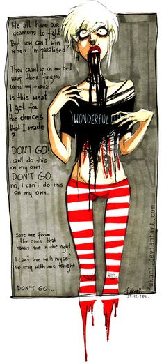 """Wonderful Live by *Fukari on deviantART with lyrics from """"Don't Go"""" by Bring Me The Horizon"""