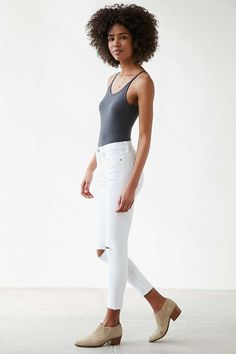 BDG Twig Crop High-Rise Skinny Jean - White Slash - Urban Outfitters