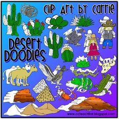Desert Habitat Doodles with FREEBIE chameleon!