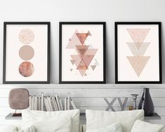 Set of 3 Prints, Minimalist Poster, Geometric Print, Scandinavian Art, Scandi, Blush, Pink, Scandinavian Print, Print Set, Printable Art