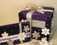 Wedding  3 Sets 1 tier Purple and Silver White Card