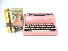 pink typewriter royal typewriter vintage by thespectaclednewt