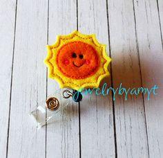 Smiling Sun Feltie Retractable Badge Reel, Felt Badge Reel, ID Badge Reel Holder, Name Badge Holder, Lanyard, Teachers Badge Holder Reel - pinned by pin4etsy.com