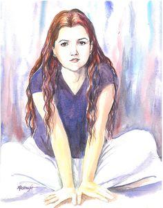 by Karen Straight: Watercolor portrait: My daughter done in her teens