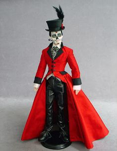 """""""Monty"""" is a dressed Day of the Dead/El Dia de Los Muertos one-of-a-kind doll by D. He wears a sumptuous red morning coat, b. Mexico Day Of The Dead, Morning Coat, Living Dead Dolls, Mexico Culture, Haunted Dolls, Gothic Dolls, Mexican Art, Mexican Crafts, Rock Collection"""