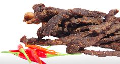 Fine sticks of beef which are cured after being treated with our special mix of biltong and mild chilli spice. Buy At Online capalabameats.com.au Chilli Spice, Biltong, Good Sources Of Protein, Charcuterie, Sticks, Healthy Snacks, Sausage, The Cure, Beef