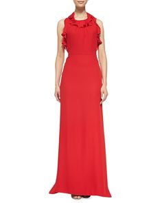 Milly Red Chelsea Ruffled Silk Halter Gown We checked over 454 online retailers and this item is sold out  Last seen for $725 at Bergdorf Goodman