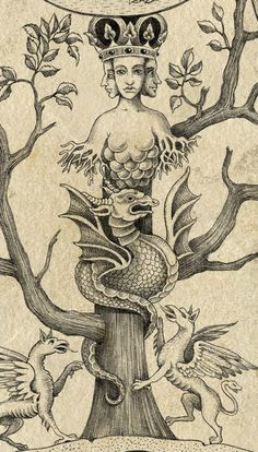 Alchemyst inside an ancient turtle, which carries a tree with emblemata depicting stages of alchemical work.