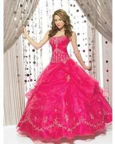 Fuchsia Strapless Lace Up Full Length Ball Gown Quinceanera Dresses With Appliques and Ruffles | Cheap Bandage Prom Dresses Sale