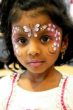 When you think about face painting designs, you probably think about simple kids face painting designs. Many people do not realize that face painting designs go Princess Face Painting, Girl Face Painting, Face Painting Designs, Painting For Kids, Paint Designs, Face Paintings, Belly Painting, Face Painting Flowers, Butterfly Face Paint