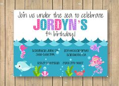Under the Sea Birthday Invitation // Ocean Theme Custom Birthday Invitation on Etsy