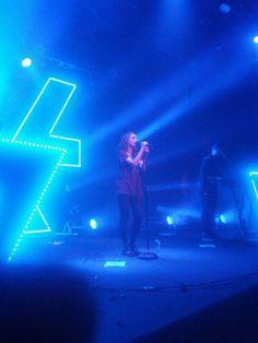 Lauren Mayberry, Martin Doherty, Iain Cook. Scottish pop group CHVRCHES @ Metro Theatre, Feb 4 2014.