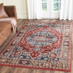 Charlton Home Broomhedge Oriental Royal Red Area Rug Oriental Pattern, Oriental Rug, Persian Motifs, Royal Red, Brown Rug, Blue Brown, Area Rug Runners, Rug Material, Blue Area Rugs