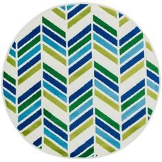 Shop for Amelia Ivory/ Blue Chevron Rug (3'0 x 3'0). Free Shipping on orders…