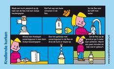 Schiet de kurk van een fles met azijn en zuiveringszout.