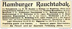 Original-Werbung/ Anzeige 1899 - TABAK / HAMBURGER RAUCHTABAK / SANDER - TRITTAU BEI HAMBURG - ca. 100 X 40 mm