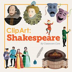 Clip Art: Shakespeare & Renaissance (color & black outlines)! This unique collection of Shakespearean clip art features: 12 original color and black/white illustrations (24 images total); high-res files for clear printing; PNG files with transparent backgrounds. Images include: Shakespeare, Queen Elizabeth I, Globe Theatre, court jester, men and women in Renaissance clothing, Hamlet holding skull, comedy and tragedy masks, quill. Add visual interest and creative style to your TpT products!