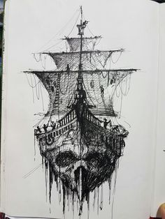 ship skull more pirate tattoo idea pirate ship drawing men s tattoo . Tattoo On, Tattoo Drawings, Body Art Tattoos, Tatoos, Tattoo Ship, Tattoo Flash, Death Tattoo, Tattoo Pics, Sketch Tattoo