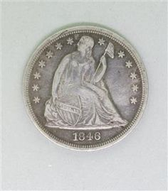 1846 Silver Seated Liberty Dollar Coin. Available @ hamptonauction.com for the March 16, 2014 auction!