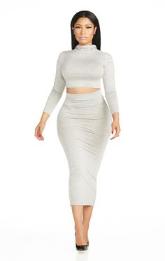 Nicki Minaj Collection Mock Neck Jersey Crop Top Heather Grey