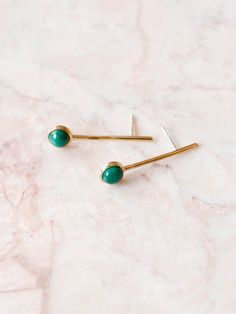 Quarry - Annika Down Earrings - Brass Malachite