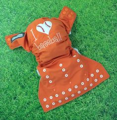 MADE TO ORDER:  Choose your team colors - Little Beasties one size cloth pocket diaper with adjustable elastic & leg gussets; I <3 baseball - pinned by pin4etsy.com