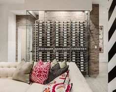 The ultimate wine cellar! Add to your entertaining space with a glass enclosed wine cellar on any interior wall.