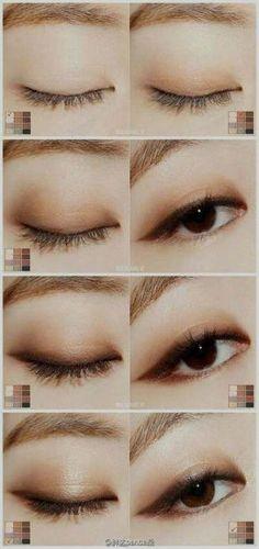 Makeup Tutorial Foundation Contouring Eyebrows Make Up 40 Ideas - Elektra Z. Asian Makeup Monolid, Asian Makeup Looks, Natural Eye Makeup, Makeup For Brown Eyes, Eyebrow Makeup, Makeup Eyeshadow, Monolid Eyeliner, Asian Eyeshadow, Natural Beauty