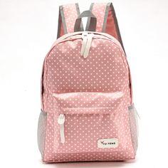 2017 lovely dot printing backpacks for teenage girls designer soft nylon backpack for children school bags portfolio for teens