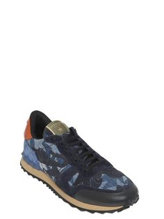 valentino - men - sneakers - rockrunner camustars denim sneakers