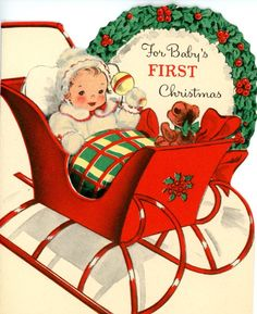 Vintage Die Cut Norcross Baby's 1st Christmas Baby in a Sleigh 1000