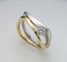 18ct yellow and white gold ring with diamond | Flickr - Photo Sharing!