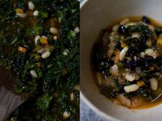 Ribollita  	Recipe  - Ribollita, a thick Tuscan stew made with dark greens, lots of beans, vegetables, olive oil, and thickened with day-old bread. One of my favorites. - from 101Cookbooks.com