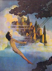 The Dinky Bird, by Maxfield Parrish, an illustration from Poems of Childhood by Eugene Field, 1904. This work exemplifies Parrish's characteristic use of androgynous figures