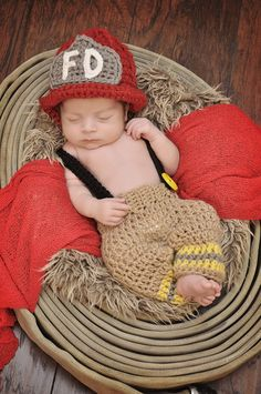 Firefighter newborn photo