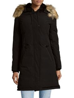Vince Camuto - Hooded Faux Fur-Trimmed Down Coat