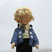 19teens German Bing Oil Cloth Face Doll with Curly Blond Hair 8 inches tall