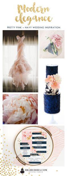 Elegant and modern pink peony and navy wedding inspiration | sources: invitations, digibuddha.com / dress, heyweddinglady.com / bouquet, jessicalorren.com / peonies, creaturecomfortsblog.com / cake, bellacupcakes.com
